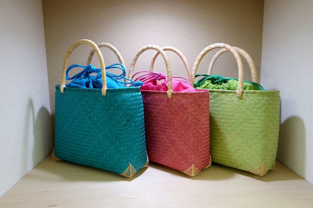和小物さくら作楽展2015 竹のバスケットバッグ布地インナー付き