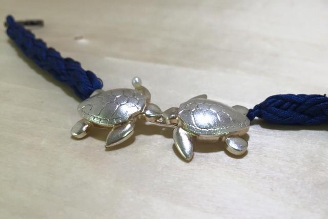 純銀細工男物羽織紐 海亀