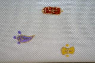宝尽くし刺繍入り 正絹帯地丸型ボストンバッグ 刺繍