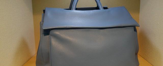 シュリンク牛革トラベルバッグ ステリック樹脂トートバッグ