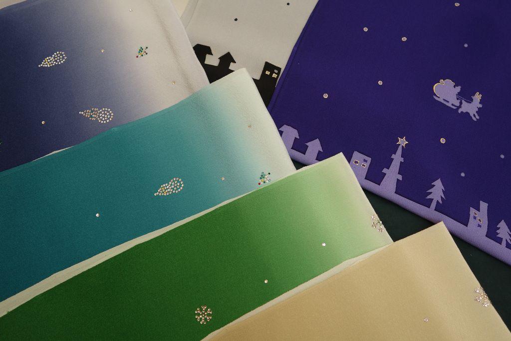 和小物さくら クリスマス帯揚 サンタクロース&スワロフスキー