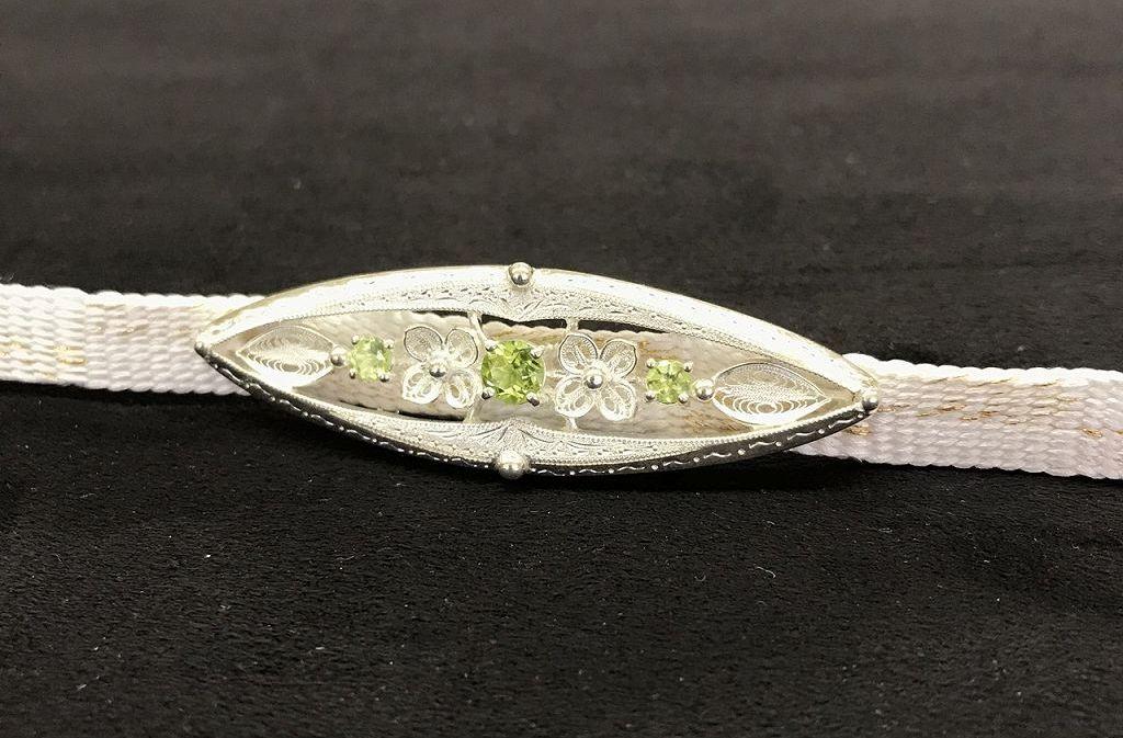 帯留め 純銀細工