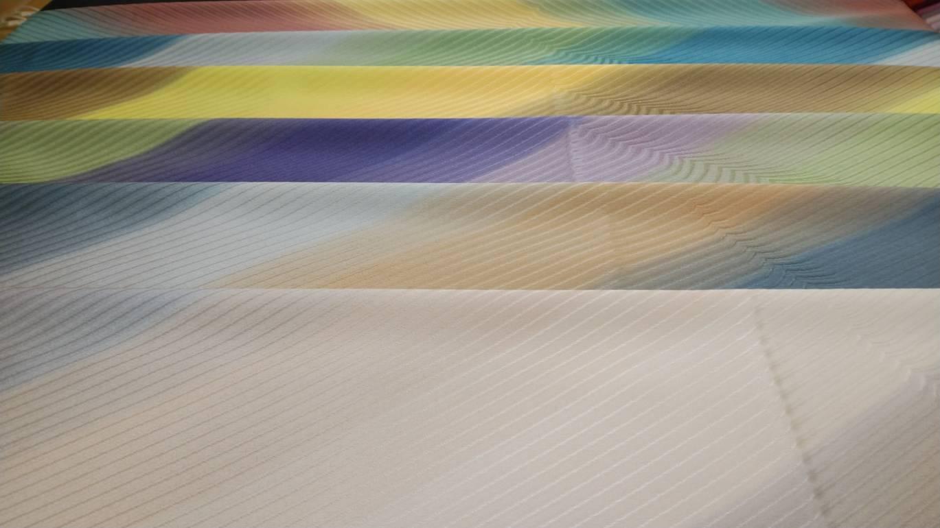 帯揚げ 斜線波三色ぼかし